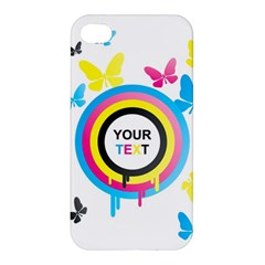 Colorful Butterfly Rainbow Circle Animals Fly Pink Yellow Black Blue Text Apple Iphone 4/4s Premium Hardshell Case