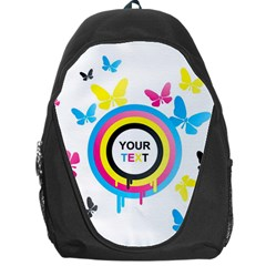 Colorful Butterfly Rainbow Circle Animals Fly Pink Yellow Black Blue Text Backpack Bag