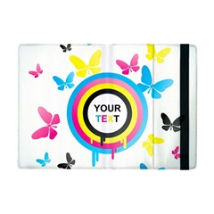 Colorful Butterfly Rainbow Circle Animals Fly Pink Yellow Black Blue Text Apple iPad Mini Flip Case