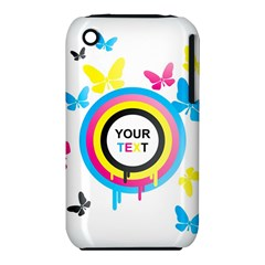 Colorful Butterfly Rainbow Circle Animals Fly Pink Yellow Black Blue Text iPhone 3S/3GS
