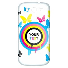 Colorful Butterfly Rainbow Circle Animals Fly Pink Yellow Black Blue Text Samsung Galaxy S3 S III Classic Hardshell Back Case