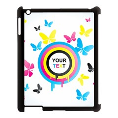 Colorful Butterfly Rainbow Circle Animals Fly Pink Yellow Black Blue Text Apple iPad 3/4 Case (Black)