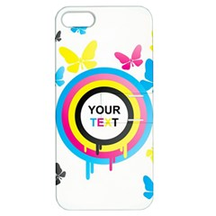 Colorful Butterfly Rainbow Circle Animals Fly Pink Yellow Black Blue Text Apple Iphone 5 Hardshell Case With Stand