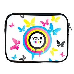 Colorful Butterfly Rainbow Circle Animals Fly Pink Yellow Black Blue Text Apple iPad 2/3/4 Zipper Cases