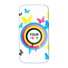 Colorful Butterfly Rainbow Circle Animals Fly Pink Yellow Black Blue Text Samsung Galaxy S4 I9500/I9505  Hardshell Back Case