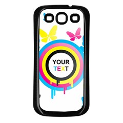 Colorful Butterfly Rainbow Circle Animals Fly Pink Yellow Black Blue Text Samsung Galaxy S3 Back Case (Black)