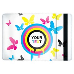 Colorful Butterfly Rainbow Circle Animals Fly Pink Yellow Black Blue Text iPad Air Flip