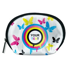 Colorful Butterfly Rainbow Circle Animals Fly Pink Yellow Black Blue Text Accessory Pouches (Medium)