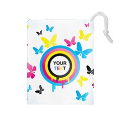 Colorful Butterfly Rainbow Circle Animals Fly Pink Yellow Black Blue Text Drawstring Pouches (Large)