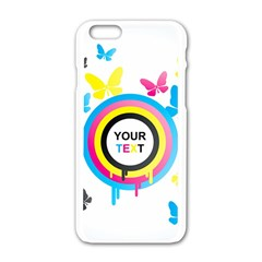 Colorful Butterfly Rainbow Circle Animals Fly Pink Yellow Black Blue Text Apple Iphone 6/6s White Enamel Case