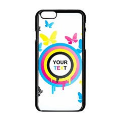 Colorful Butterfly Rainbow Circle Animals Fly Pink Yellow Black Blue Text Apple iPhone 6/6S Black Enamel Case