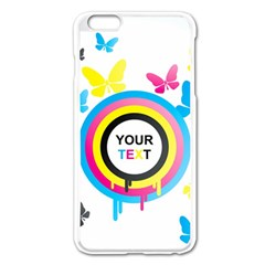 Colorful Butterfly Rainbow Circle Animals Fly Pink Yellow Black Blue Text Apple Iphone 6 Plus/6s Plus Enamel White Case