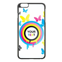 Colorful Butterfly Rainbow Circle Animals Fly Pink Yellow Black Blue Text Apple Iphone 6 Plus/6s Plus Black Enamel Case