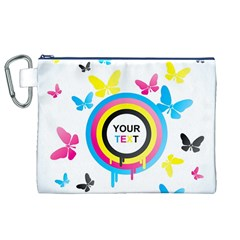 Colorful Butterfly Rainbow Circle Animals Fly Pink Yellow Black Blue Text Canvas Cosmetic Bag (XL)