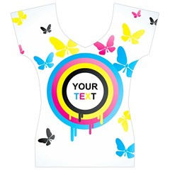 Colorful Butterfly Rainbow Circle Animals Fly Pink Yellow Black Blue Text Women s V-Neck Cap Sleeve Top