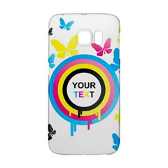 Colorful Butterfly Rainbow Circle Animals Fly Pink Yellow Black Blue Text Galaxy S6 Edge