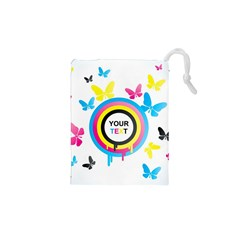 Colorful Butterfly Rainbow Circle Animals Fly Pink Yellow Black Blue Text Drawstring Pouches (XS)