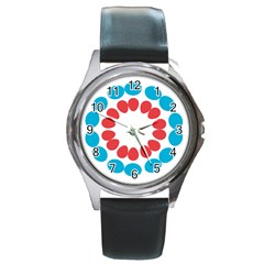 Egg Circles Blue Red White Round Metal Watch