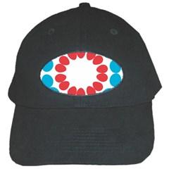 Egg Circles Blue Red White Black Cap