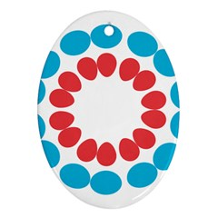 Egg Circles Blue Red White Ornament (oval)