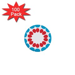 Egg Circles Blue Red White 1  Mini Buttons (100 Pack)