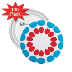 Egg Circles Blue Red White 2 25  Buttons (100 Pack)