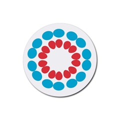 Egg Circles Blue Red White Rubber Coaster (Round)