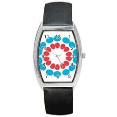 Egg Circles Blue Red White Barrel Style Metal Watch