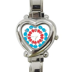 Egg Circles Blue Red White Heart Italian Charm Watch