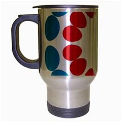 Egg Circles Blue Red White Travel Mug (Silver Gray)