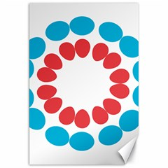 Egg Circles Blue Red White Canvas 20  x 30