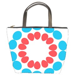 Egg Circles Blue Red White Bucket Bags
