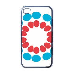 Egg Circles Blue Red White Apple iPhone 4 Case (Black)