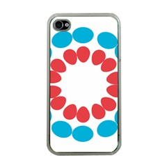 Egg Circles Blue Red White Apple iPhone 4 Case (Clear)