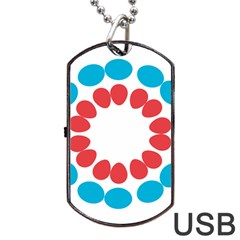 Egg Circles Blue Red White Dog Tag USB Flash (Two Sides)