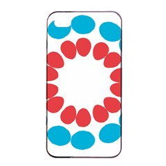Egg Circles Blue Red White Apple iPhone 4/4s Seamless Case (Black)