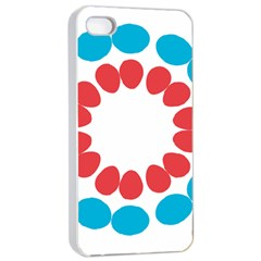 Egg Circles Blue Red White Apple iPhone 4/4s Seamless Case (White)