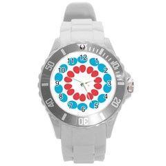 Egg Circles Blue Red White Round Plastic Sport Watch (L)