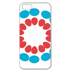 Egg Circles Blue Red White Apple Seamless iPhone 5 Case (Clear)