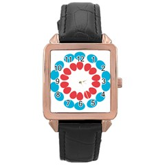 Egg Circles Blue Red White Rose Gold Leather Watch