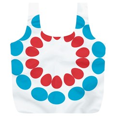 Egg Circles Blue Red White Full Print Recycle Bags (L)