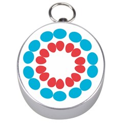 Egg Circles Blue Red White Silver Compasses