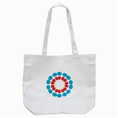 Egg Circles Blue Red White Tote Bag (White)