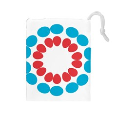 Egg Circles Blue Red White Drawstring Pouches (Large)