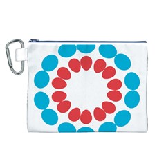 Egg Circles Blue Red White Canvas Cosmetic Bag (L)