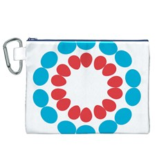 Egg Circles Blue Red White Canvas Cosmetic Bag (XL)