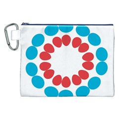 Egg Circles Blue Red White Canvas Cosmetic Bag (XXL)