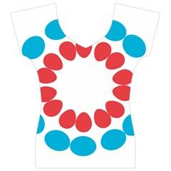 Egg Circles Blue Red White Women s V-Neck Cap Sleeve Top