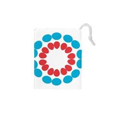 Egg Circles Blue Red White Drawstring Pouches (XS)