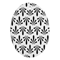 Floral Black White Ornament (oval)